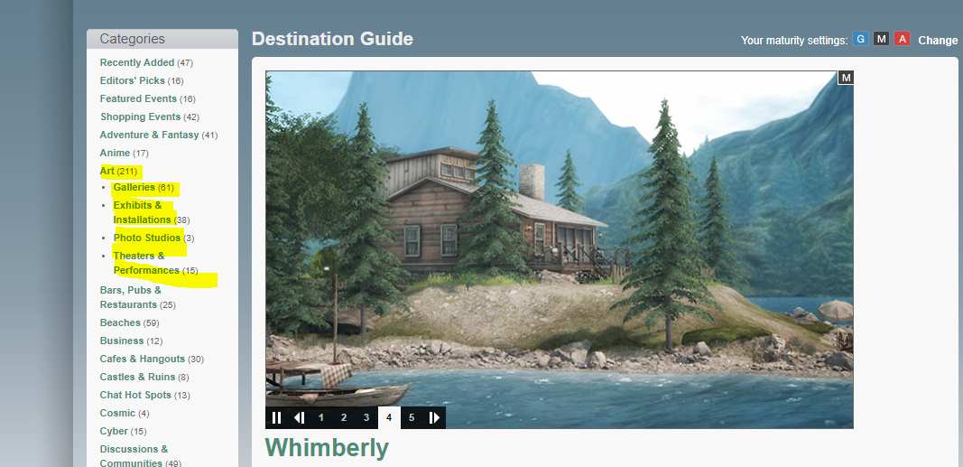 Linden Lab introduces new subcategories in the Second Life Destinations Art tab. Some suggestions for future adds. ~ VIRTUALITY